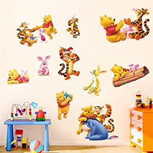 Winnie The Pooh Sticker Children's Cartoon Bedroom Background Wall Decoration Self-Adhesive Wall Sticker PVC