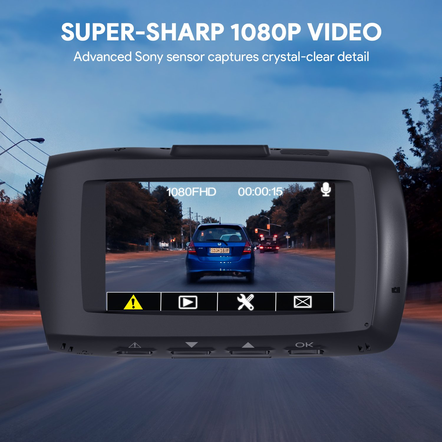 """AUKEY 1080p Dual Dash Cams with 2.7"""" Screen, Full HD Front and Rear Camera, 6-Lane 170° Wide-Angle Lens, G-Sensor, and Dual-Port Car Charger by AUKEY (Image #4)"""