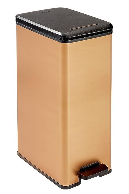 Curver Deco Bin Slim Garbage Can, Black/Copper, 35 x 25 x 10 cm ...