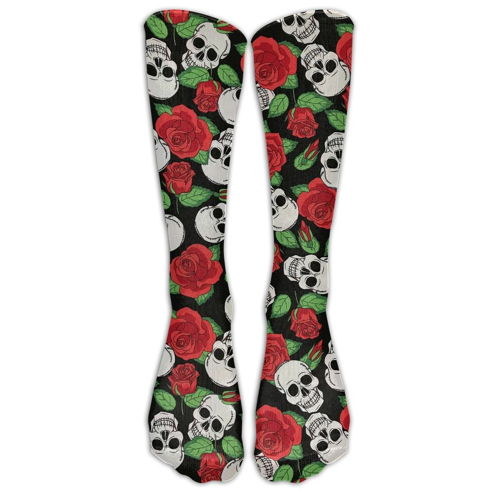 a0416207439de Amazon.com: High Boots Crew Skull Red Rose Compression Socks ...