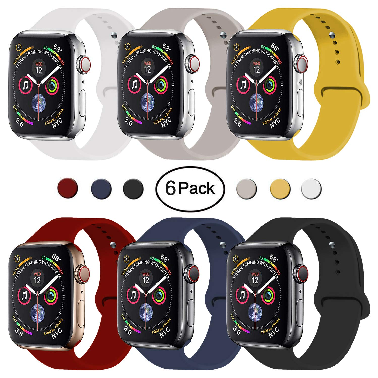 VATI Sport Band Compatible for Apple Watch Band 38mm 40mm, 6-Pack Soft Silicone Sport Strap Replacement Bands Compatible with 2018 iWatch Apple Watch Series 4/3/2/1, 38MM 40MM S/M by VATI
