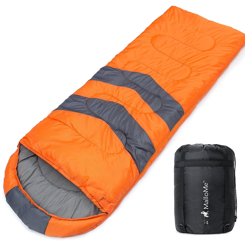 [MalloMe] [Double 寝袋 Camping Sleeping Bag - 3 Season Warm & Cool Weather - Summer, Spring, Fall, Lightweight, Camping Gear Equipment] (並行輸入品) B07DWN946X  Single Orange One Size