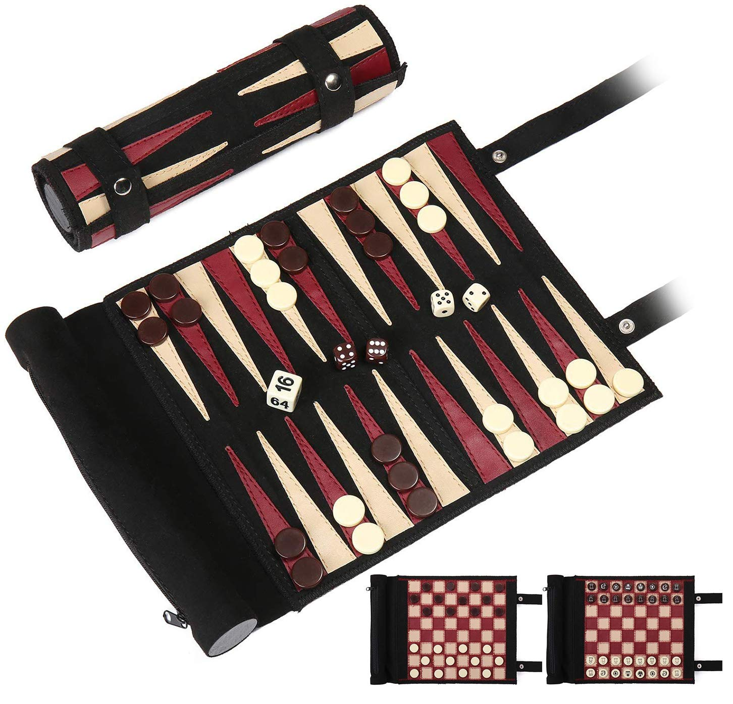 Woodronic Roll Up 3 in 1 Game Set, Backgammon Chess Checker Travel Game Set, Luxurious Suede Leather Travel Size with Gift Packaging, Black & Red by Woodronic