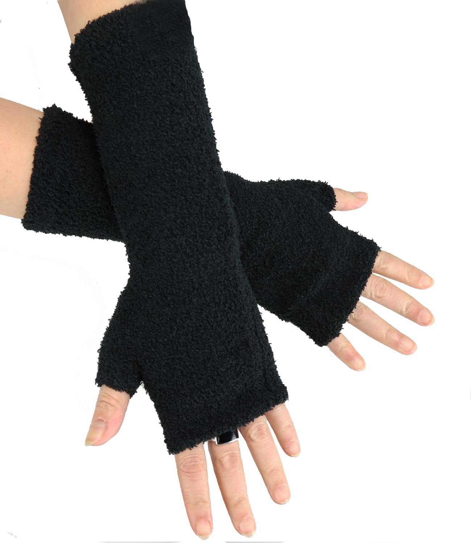 Caripe Damen Armstulpen gestrickt lang Strickstulpen Handschuhe fingerlos 11