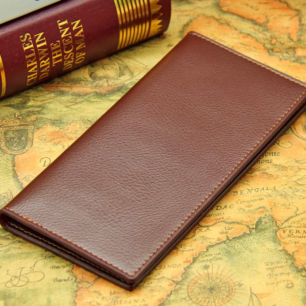 Topfire Men Long Leather Purse Money Credit Cards Photo Holder Storage Bag Boys Wallet Solid Color Soft Billfold