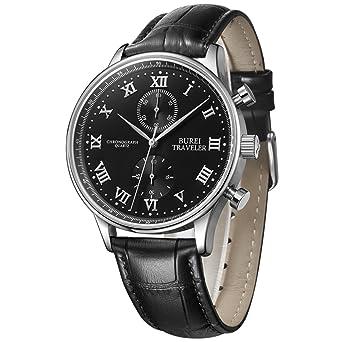 Uhr römische zahlen  BUREI Chronograph Herren Uhren schwarz mit Lederarmband und Silber ...