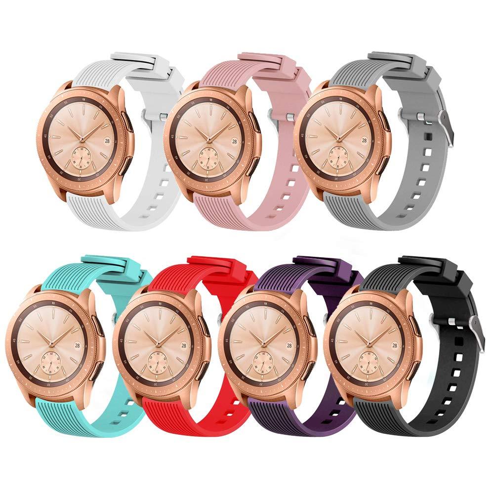 QINICHEN Samsung Galaxy Watch (42mm 46mm) バンド 20mm 22mm シリコンストラップ スポーツ 交換用リストバンド Galaxy Watch 42mm 46mm用 レディース メンズ  7 PACK B (42 MM) B07MQQVBSP