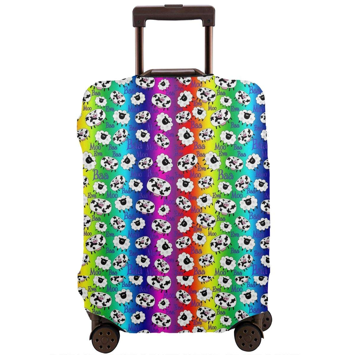4 Size Sheep And Cow Rainbow Printed Business Luggage Protector Travel Baggage Suitcase Cover