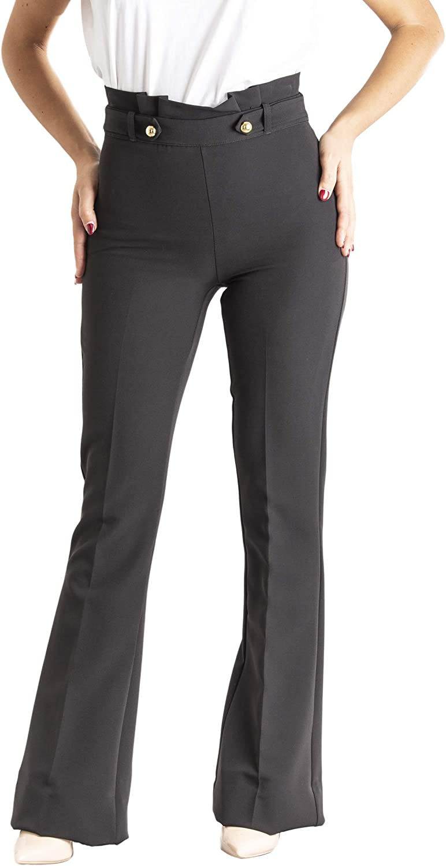 Pantalone Donna Zampa Elegante Vita Alta Stretto Made in Italy 1445