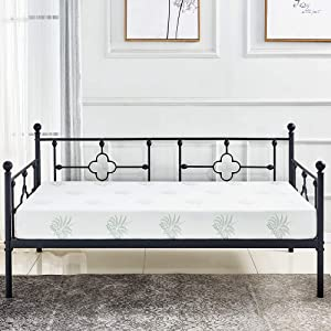 ZoonaeHaii Metal Day Bed Frame Platform with Headboard/Mattress Foundation/Box Spring Replacement Black (Day Bed) Five Years Warranty(Twin Day Bed)