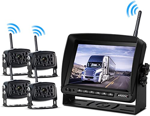 Wireless Backup Camera with Monitor System Split Screen for Rv Rearview Reversing Back Camera No Interface Ip69 Waterproof Big 7 Wireless Monitor for Truck Trailer Heavy Box Truck Motorhome