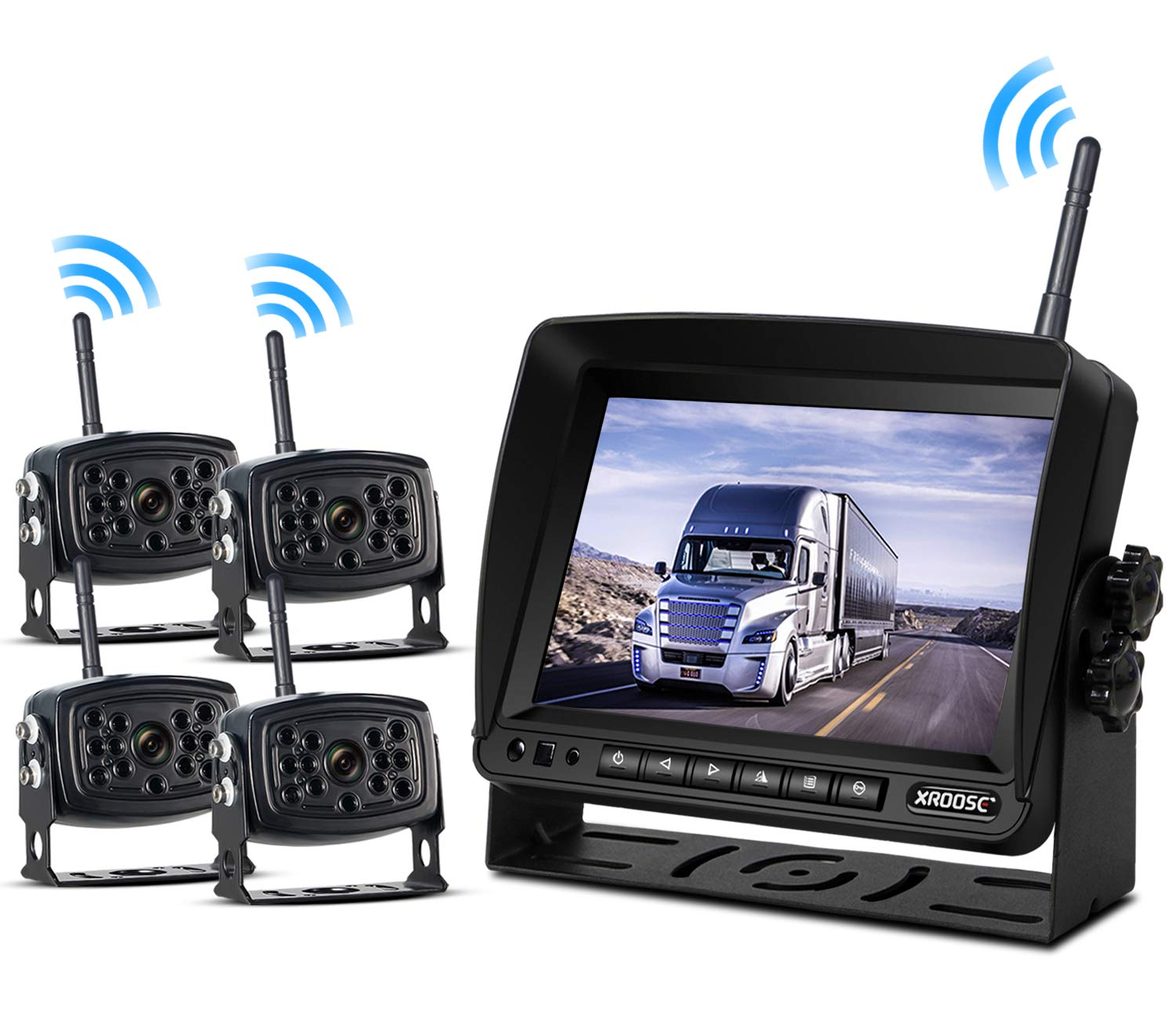 Wireless Backup Camera with Monitor System Split Screen for RV Rearview Reversing Back Camera No Interface IP69 Waterproof + Big 7'' Wireless Monitor for Truck Trailer Heavy Box Truck Motorhome ...