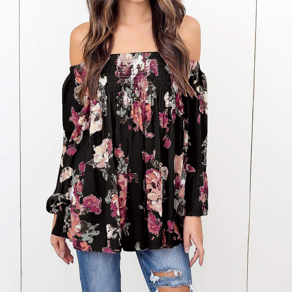 2396145e7d Amazon.com: Women Blouse, 2018 Summer Off Shoulder Floral Printed Plus Size  Casual Long Bell Sleeve Tops T Shirt: Clothing