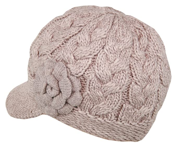 f90317c9599 Women s Winter Cable Knitted Double Layer Visor Beanie Hat with Rossette  Floral (Beige) at Amazon Women s Clothing store