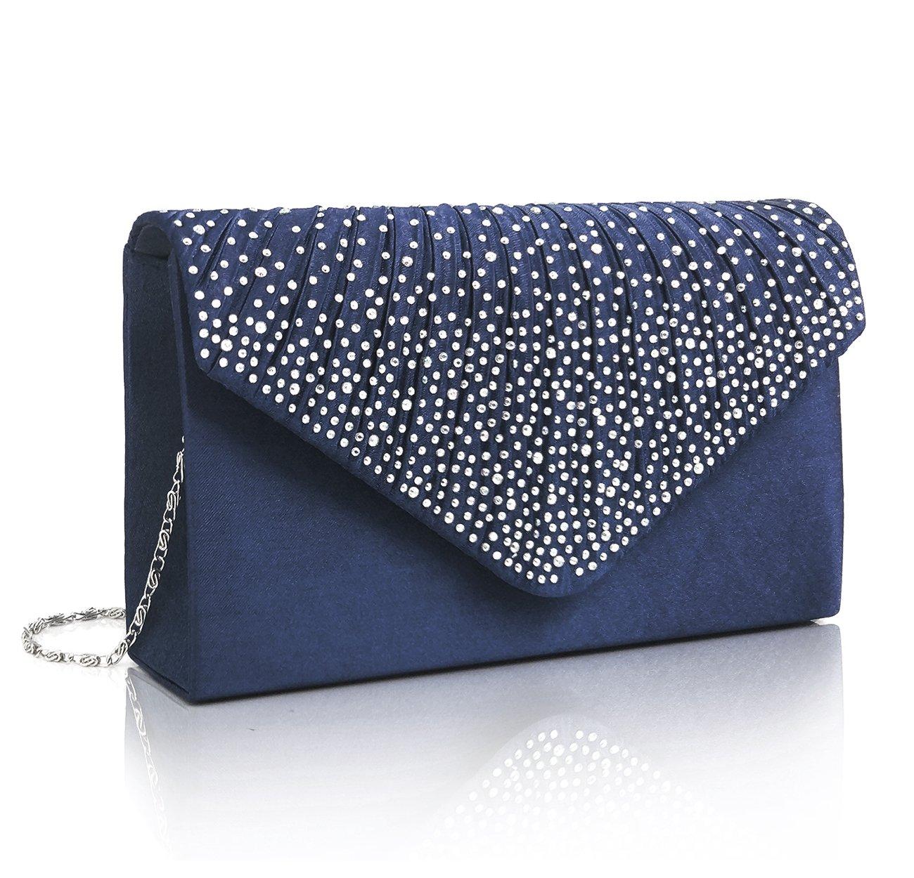 EssVita Noche Boda Nupcial Fiesta Embrague Bolso para mujeres Diamantes Escarchado Sobre Bolso Bolsas de hombro Azul Oscuro Ess-ClutchBag001-Dbe