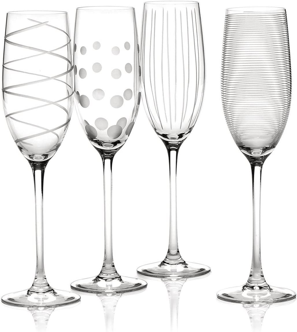 Mikasa Set of 4 Cheers Crystal Champagne Flute Glasses, Silver
