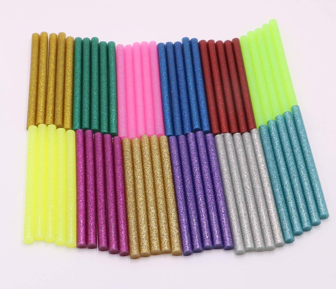 130pcs Colorful Hot Melt Glue Stick, WeiMo Small Glue Gun Used Long Shape Hot Melt Glue Stick for Art Craft DIY Home Decoration Sealing and Gluing (130) by WeiMo (Image #2)