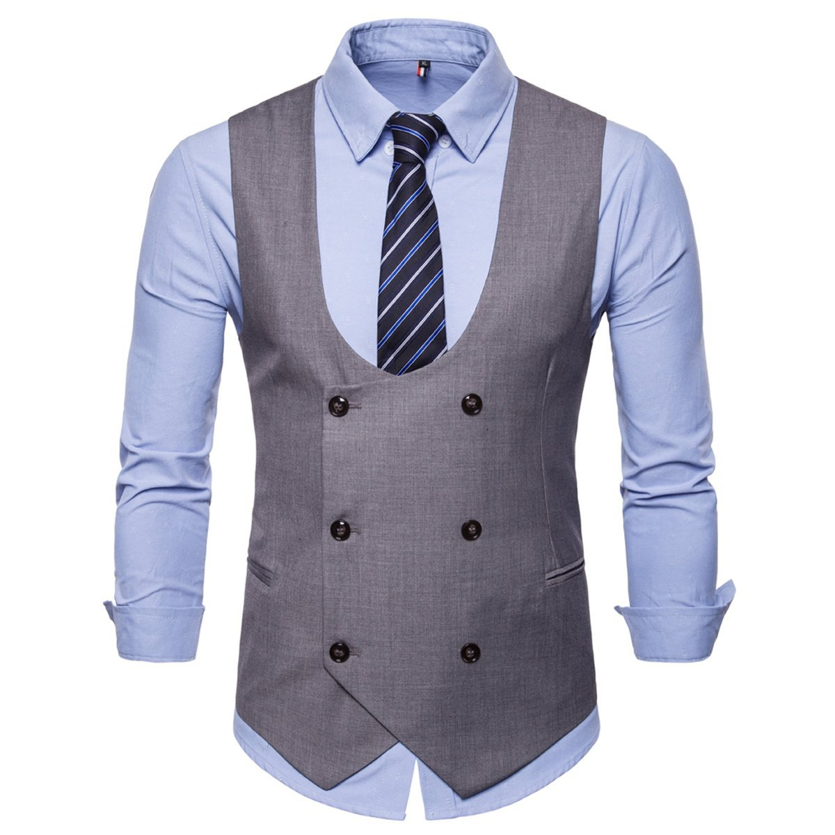 INVACHI Summer Slim Fit Mens Double Breasted Business Casual Waistcoat