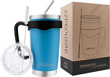 Ezprogear Stainless Steel Travel Tumbler Vacuum Insulated Mug Double Wall Keeps Cold & Hot Coffee Tea Cup with Handle, 2 Straws and Lid (Sky Blue, 20 oz)