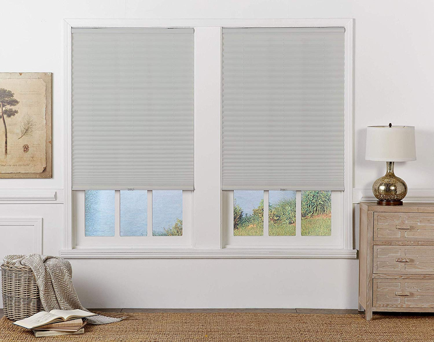 Silver Gray DEZ Furnishings QDLG460480 Cordless Light Filtering Pleated Shade 46W x 48L Inches
