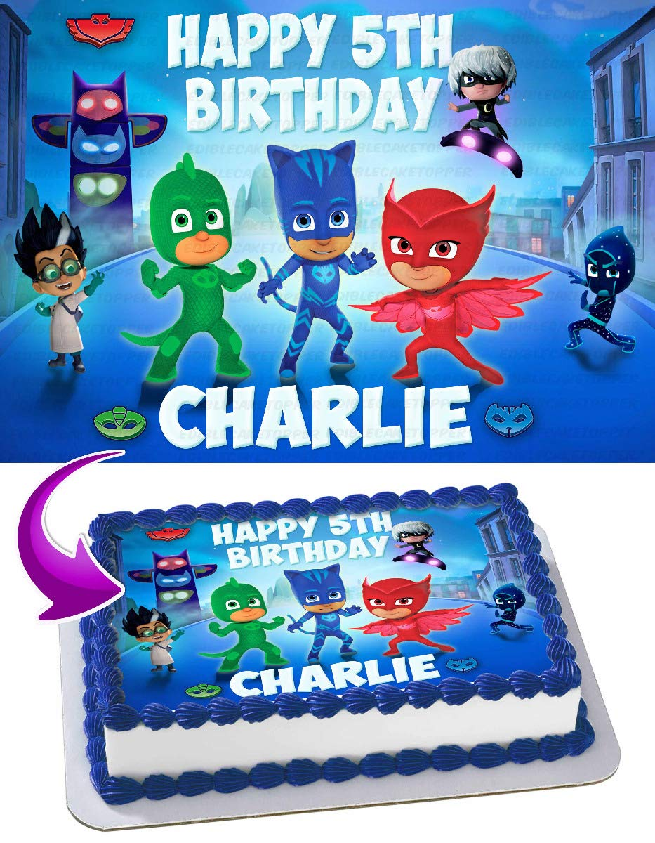 Pj Masks Edible Image Cake Topper Party Personalized 1 4 Sheet Amazon Com Grocery Gourmet Food