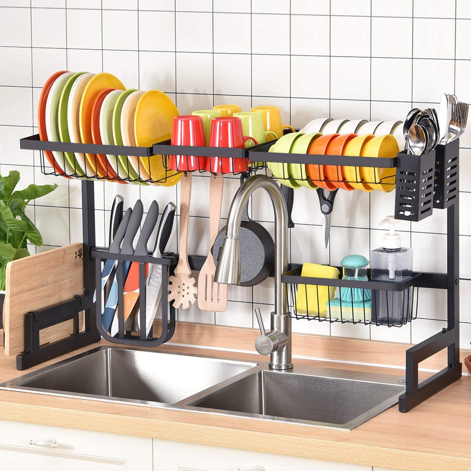 Amazon Com Large Capacity 2 Tier Over Sink Dish Rack Sink Organize Stand Shelf Dish Drying Rack With Utensil Holder Hooks Kitchen Counter Supplies Storage For Plates Bowls Pots Black Kitchen Dining