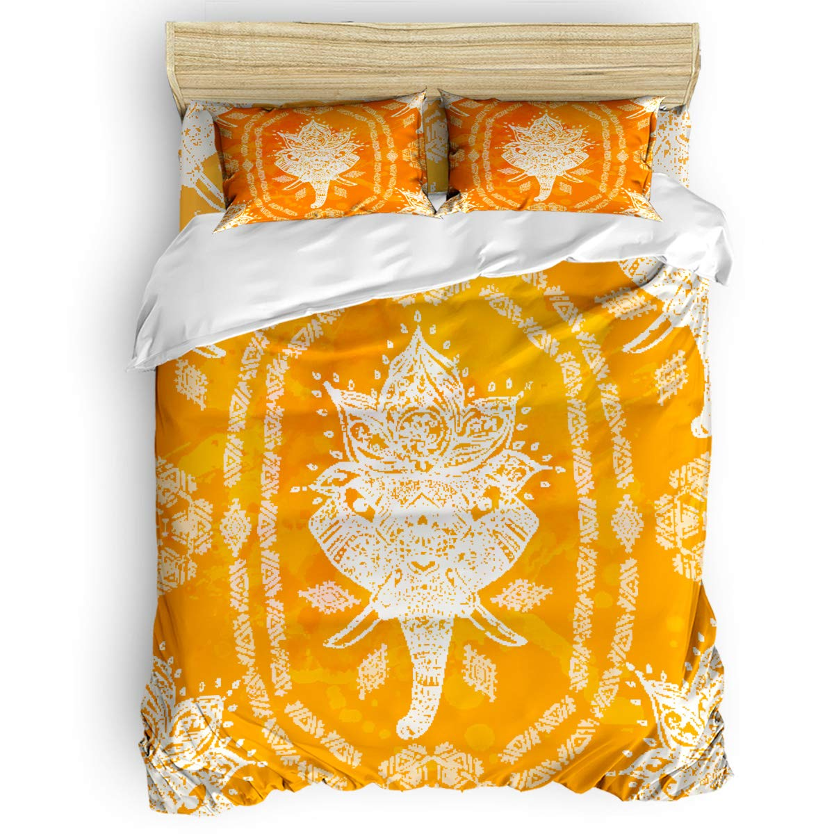 T&H Home 寝具4点セット 抽象的な布団カバーセット フードグラフィティアートダウン 掛け布団カバー フラットシーツ お揃いの枕カバー付き 大人 ティーン 子供用 フルサイズ B07Q29Q7WY Orange Pattern 1thh7446 フルサイズ