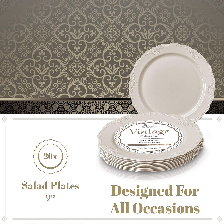 Crema | 23 cm Servizio da TAVOLA Silver Spoon Collezione Vintage MONOUSO per Feste 20 Piatti da Insalata Piatti di Plastica Resistente