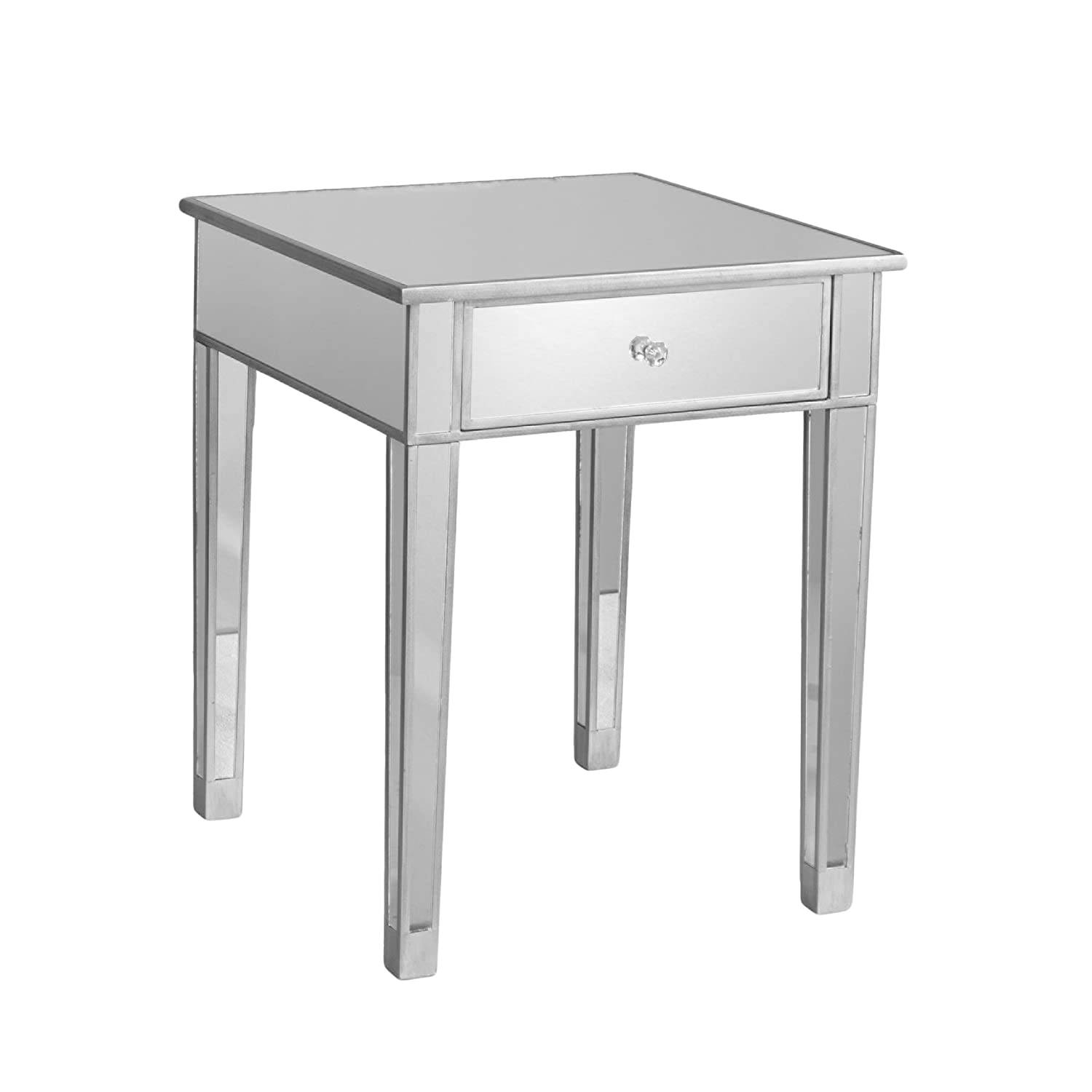Southern Enterprises Mirage Mirrored Accent Table, Matte Silver Finish with Faux Crystal Knob