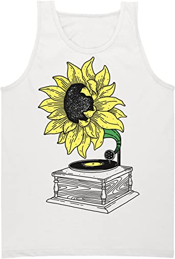Finest Prints Sunflower Music from The Gramophone Mens Tank Top Shirt
