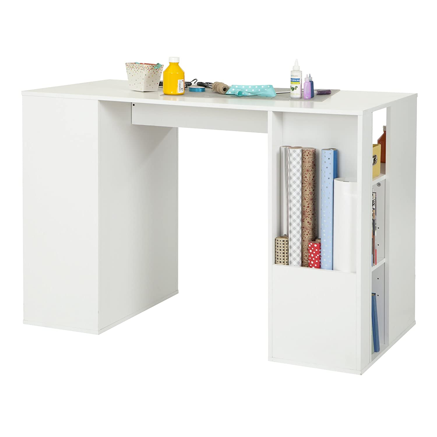 Amazon.com: South Shore Crea Pure White Counter-Height Craft Table and  Stool: Arts, Crafts & Sewing
