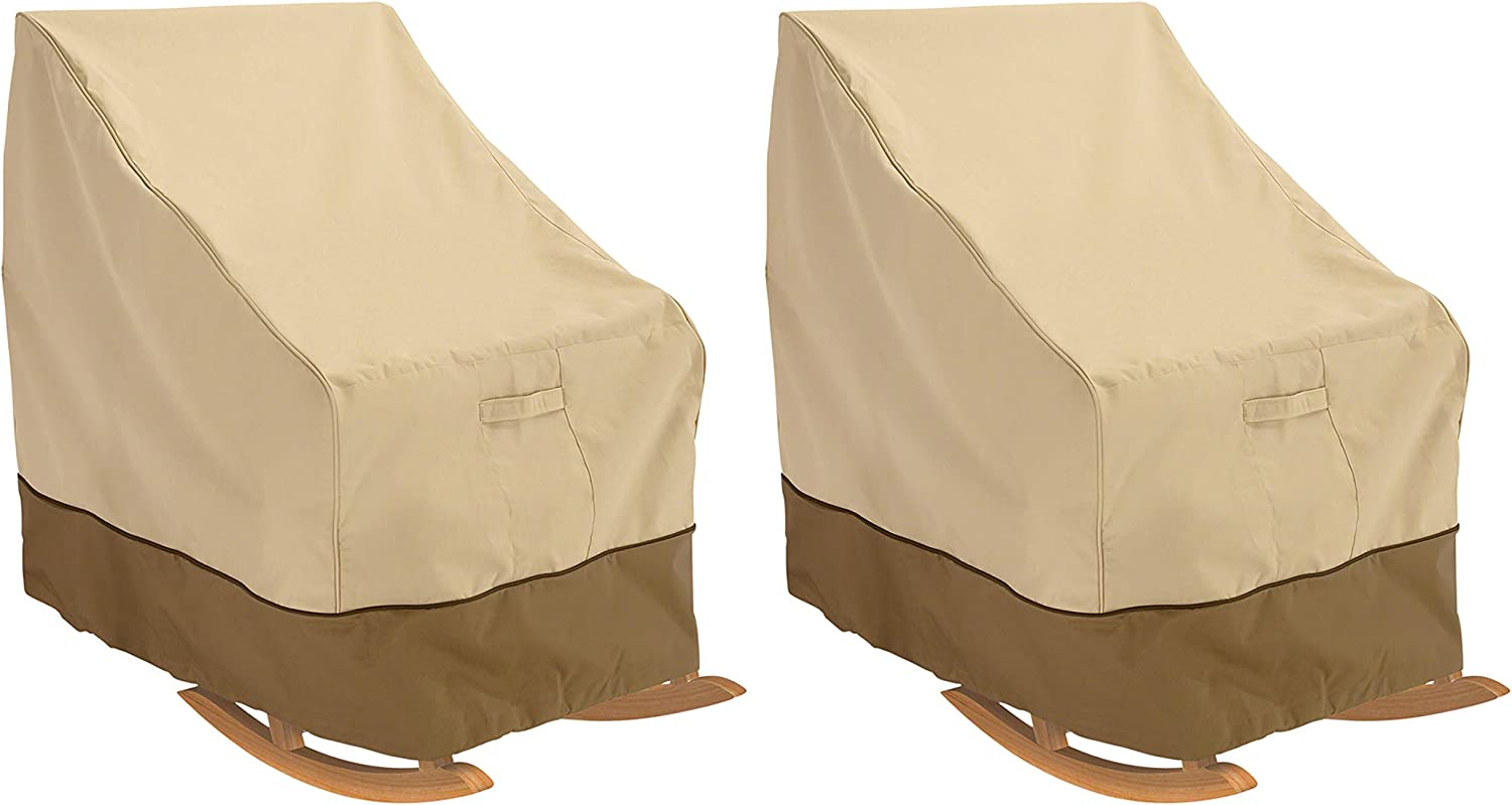 Classic Accessories Veranda Water-Resistant 27.5 Inch Rocking Chair Cover, 2 Pack