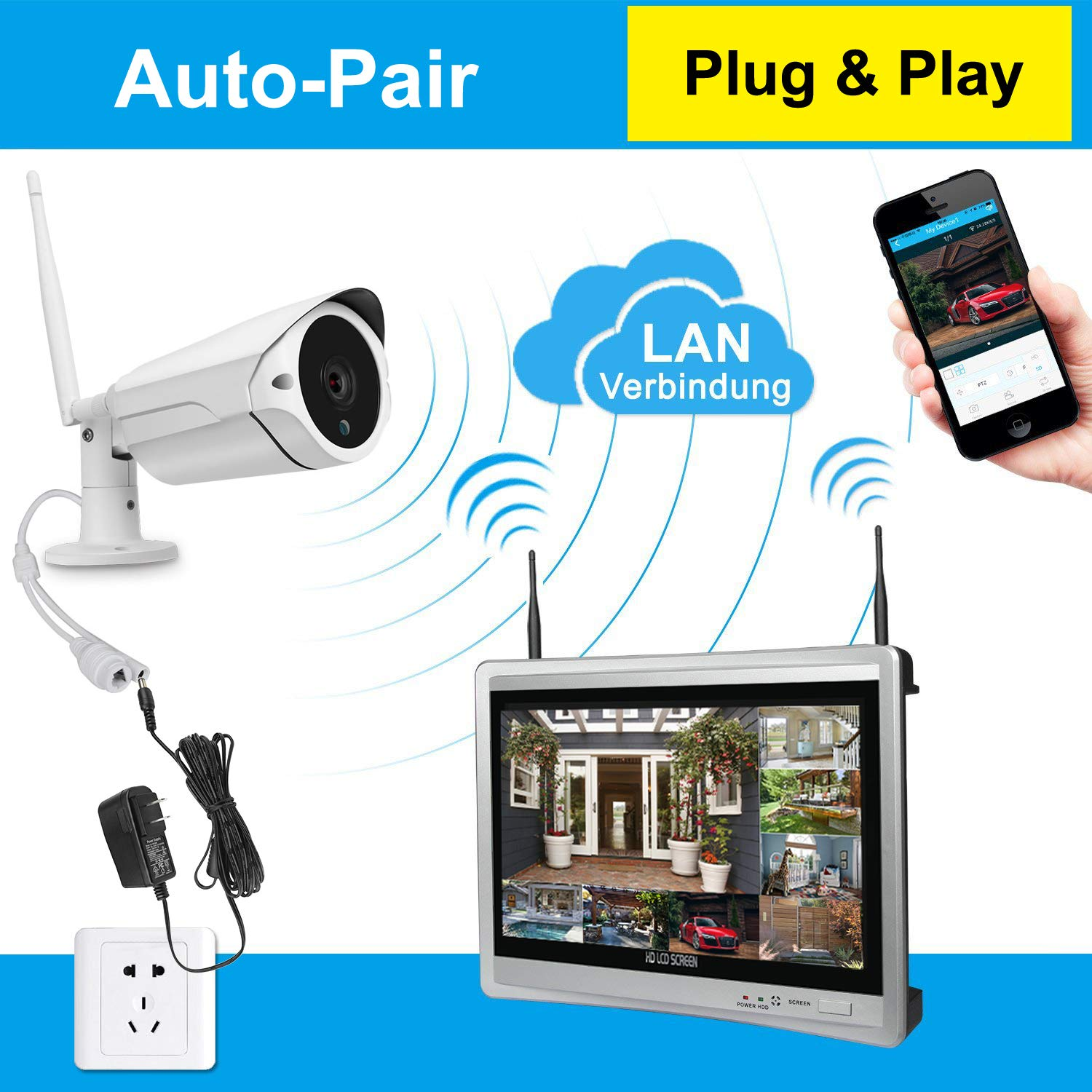 f3db3476ca5 Amazon.com   Luowice 8CH Wireless Audio Security Camera System with Built-in  Monitor   Router All-in-One 960p 2 TB HDD Indoor Outdoor HD Surveillance ...