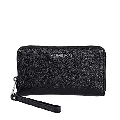 6a5ec4165e31 Michael Kors Mercer Large Leather Smartphone Wristlet in Black ...