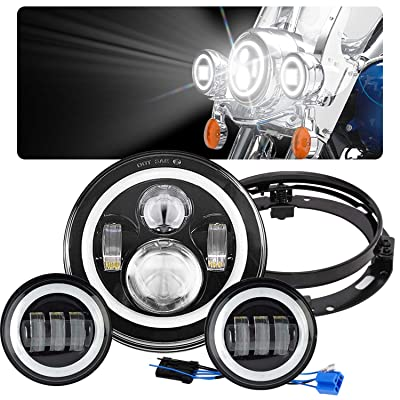 """GDAUTO 7"""" LED Headlight Ultra Limited with 4-1/2 LED Passing Lamps 4.5"""" Fog Light Mounting Bracket Ring for Harley Davidson (Black): Automotive"""