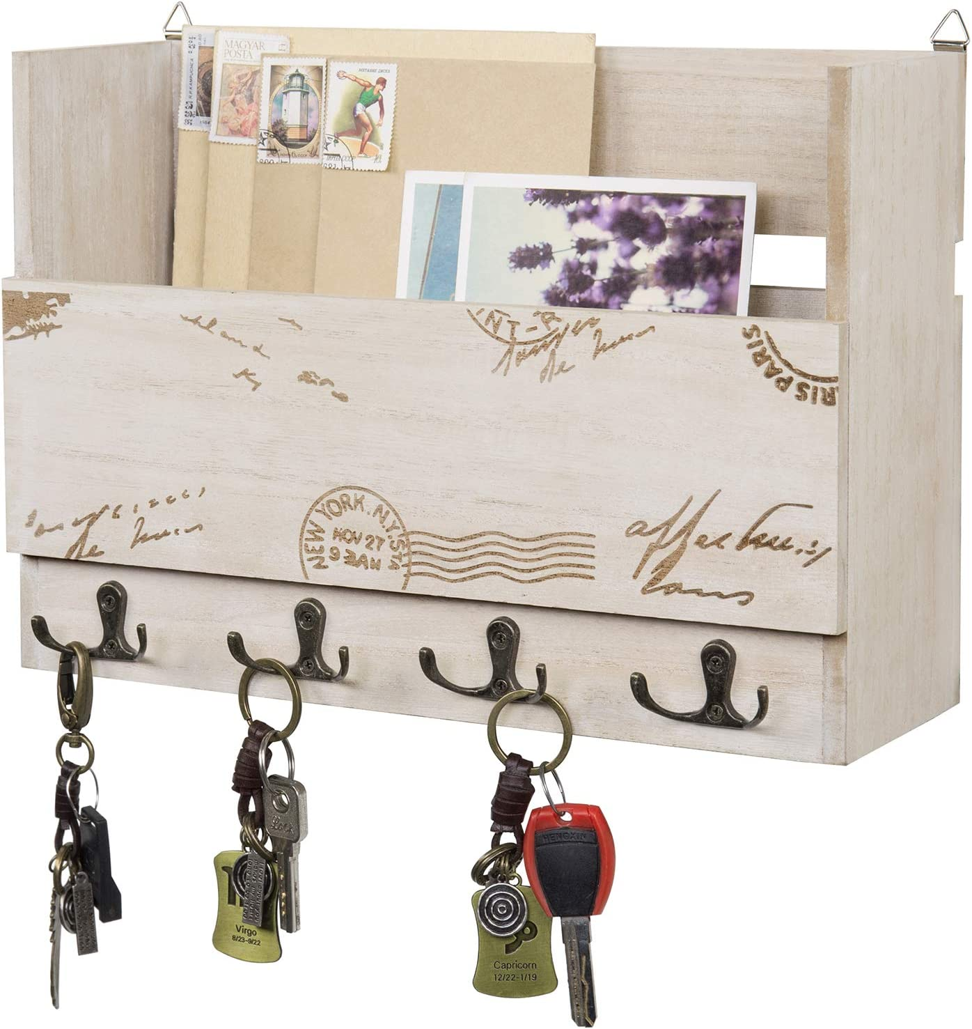 MyGift Wall Mounted Vintage Postage Stamp Beige Wood Mail Sorter with 8 Key Hooks