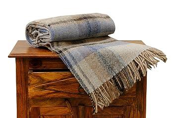 Norvège, Plaid de laine simple Bleu clair Lit  Amazon.fr  Cuisine ... e72255bcf85