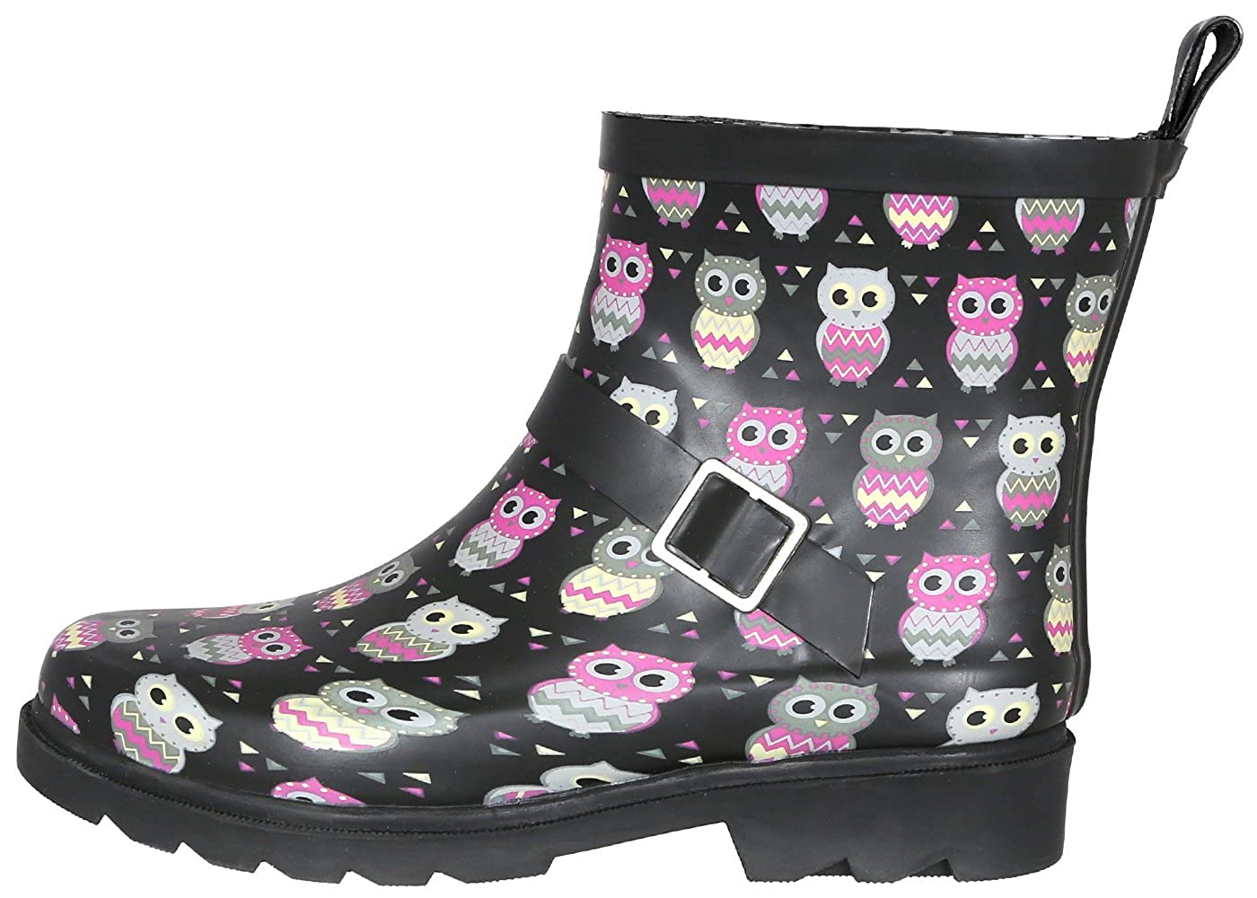 Black Lined Owl Capelli New York Ladies Shiny Umbrella Day Printed Short Sporty Lined Rainboot