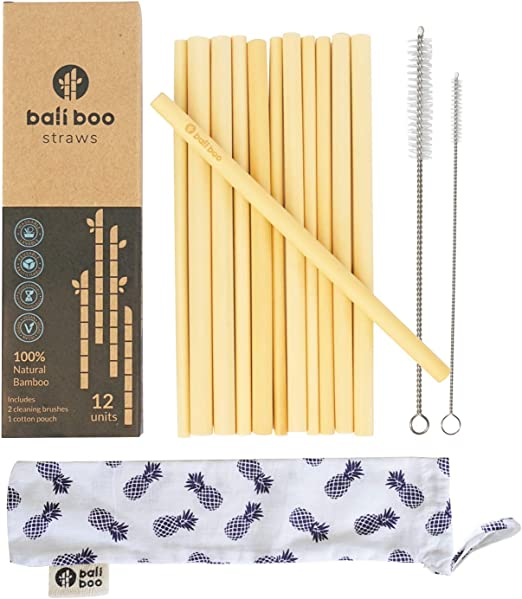 12 Pajitas de Bambú de Bali Boo | Pajitas Biodegradables y ...