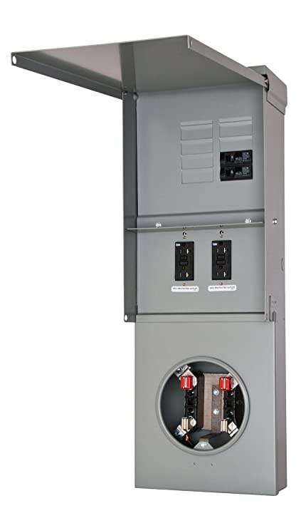 Siemens TL77NB Talon Temporary Power Outlet Panel with Two 20A Duplex  Receptacles Installed Includes a Bottom Fed, Ring Type, Meter Socket  Provision