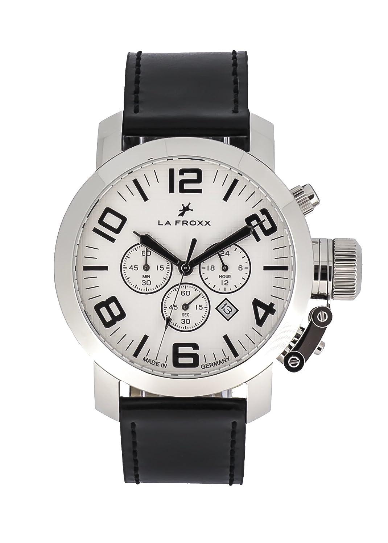 LA FROXX GRENADE Herren Armbanduhr Chronograph Quartz Edelstahl echtes Lederband 1608.40.21