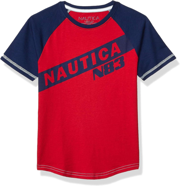 Nautica Boys Short Sleeve Crew Neck Colorblock Logo T-Shirt