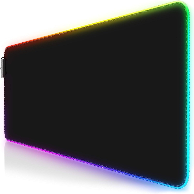 Titanwolf - Alfombrilla para ratón Gaming RGB - Mouse Pad 800 x 300 mm - LED Multicolor 7 Colores - 4 modos de efectos - Mejora precisión y velocidad - Superficie inferior de goma – Motivo Total Black