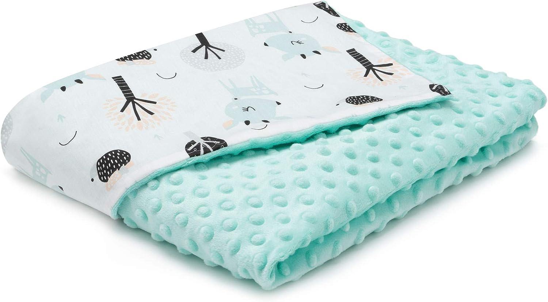 EliMeli Minky - Manta para bebé (tela Minky y y algodón, ideal como regalo), color turquesa