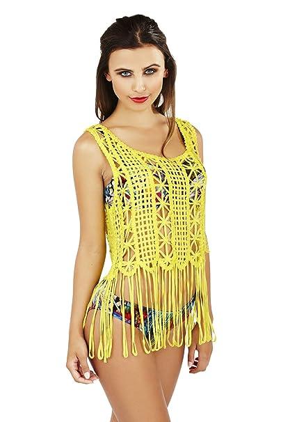 Boutique, Mujer Ropa De Baño Traje De Baño Vestido Pareo Ganchillo Vestido Túnica - Amarillo