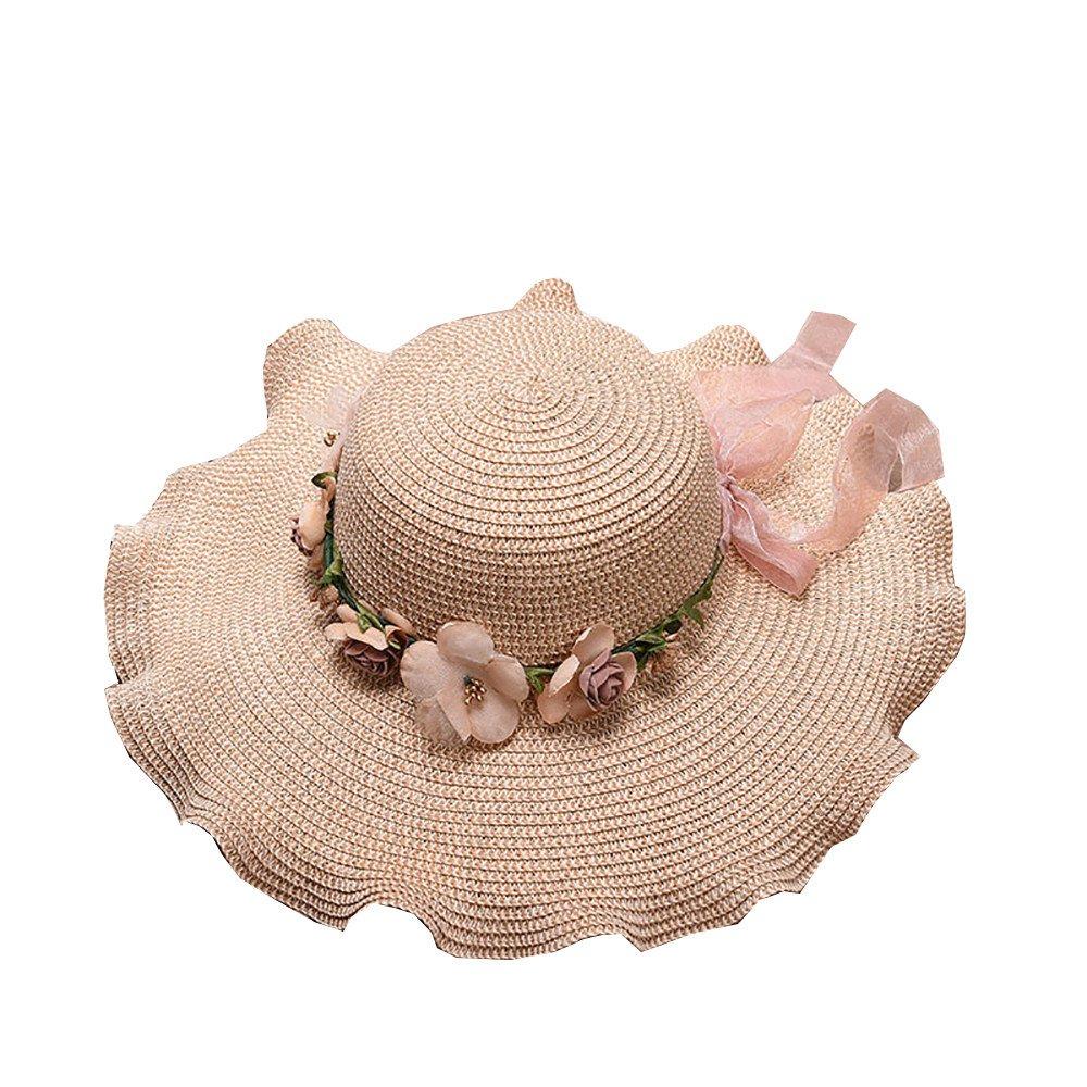 Womens Floppy Big Brim Hat Bowknot Straw Hat Foldable Roll up Sun Hat Gangster Cap Yamally Summer Sun Hat