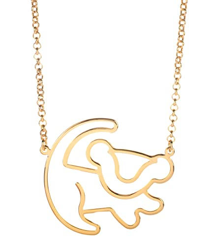 Disney Couture Classic Rose Gold-Plated Lion King Simba Outline Necklace uamfSwkd
