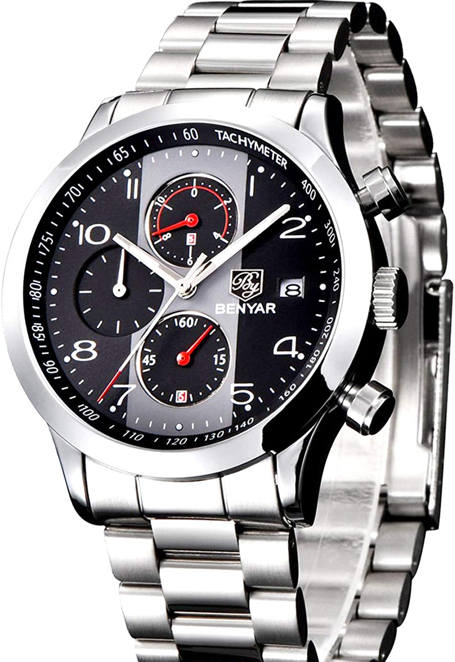 Relojes de Moda Hombre Moda Impermeable de Acero Inoxidable de Cuero de Cuarzo analógico de Seis Pines cronógrafo Reloj de Pulsera clásico Reloj Casual