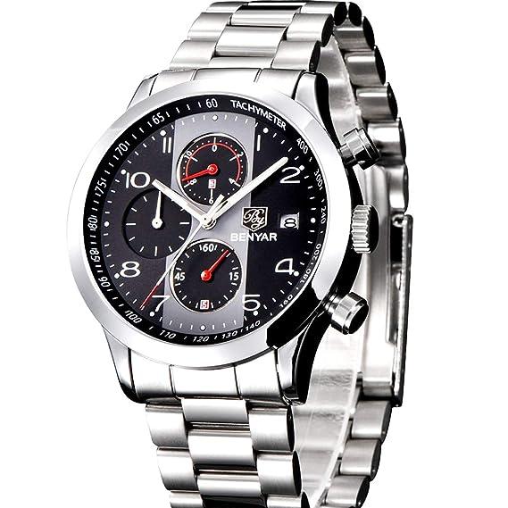 Relojes de Moda de Lujo para Hombre Moda Impermeable de Acero Inoxidable de Cuero de Cuarzo analógico de Seis Pines cronógrafo Reloj de Pulsera ...