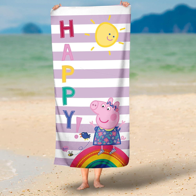 Strandlaken Duschtuch Handtuch Badelaken 75 x 150 cm 100/% Baumwolle in Veloursqualit/ät Motiv Happy Saunatuch BERONAGE Kinder Badetuch Peppa Wutz Pig Strandtuch